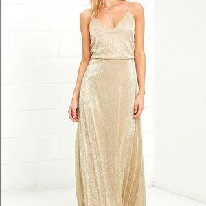 Lulu's Long Gold Dress- Small